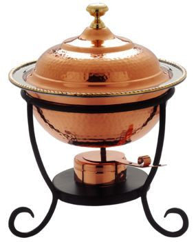 12 x 15 Round Decor Copper Chafing Dish 3 Qt. - Old Dutch - Dropship Direct Wholesale