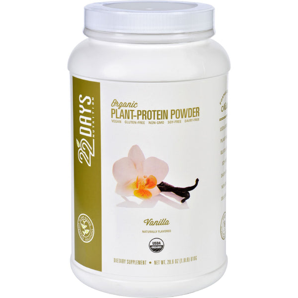 22 Days Nutrition Plant Protein Powder - Organic - Vanilla - 28.6 oz - 22 Days Nutrition - Dropship Direct Wholesale - 1