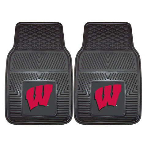 University of Wisconsin Heavy Duty 2-Piece Vinyl Car Mats 17x27 - FANMATS - Dropship Direct Wholesale