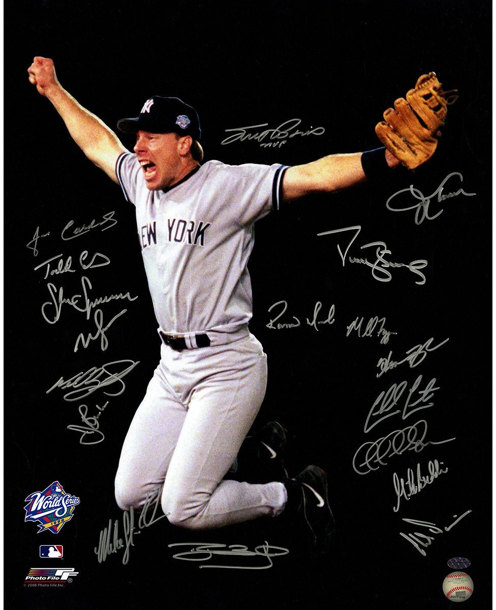 1998 New York Yankees Multi-Signed 16x20 Photo 18 Signatures Leaf Holo Only Athlon Cert