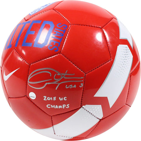 Christie Rampone Signed Red Team USA Supporter Soccer Ball w/ 2015 WC Champs Insc