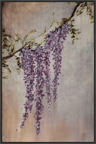 WISTERIA 22L X 28H Floater Framed Art Giclee Wrapped Canvas - J S Bass Gallery - Dropship Direct Wholesale - 1
