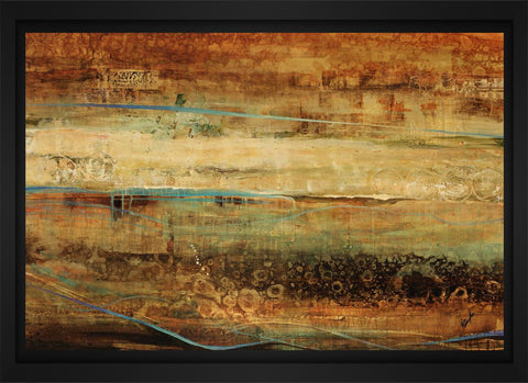 Subterranean Blues 28L X 22H Floater Framed Art Giclee Wrapped Canvas - J S Bass Gallery - Dropship Direct Wholesale - 1