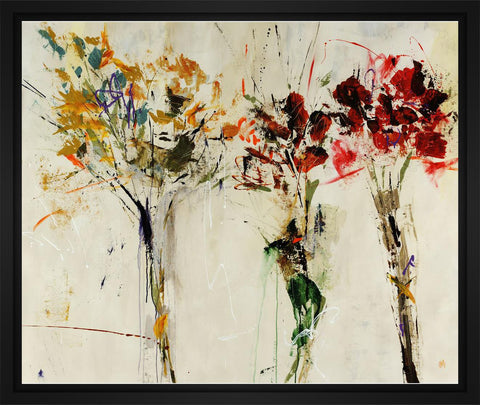 Tres Bouquet 28L X 28H Floater Framed Art Giclee Wrapped Canvas - J S Bass Gallery - Dropship Direct Wholesale - 1