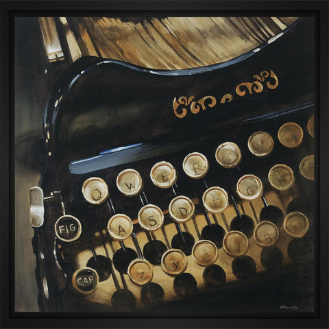 Typewriter 28L X 28H Floater Framed Art Giclee Wrapped Canvas - J S Bass Gallery - Dropship Direct Wholesale - 1