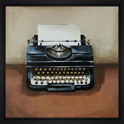 Vintage Classics I - typewriter 28L X 28H Floater Framed Art Giclee Wrapped Canvas - J S Bass Gallery - Dropship Direct Wholesale - 1