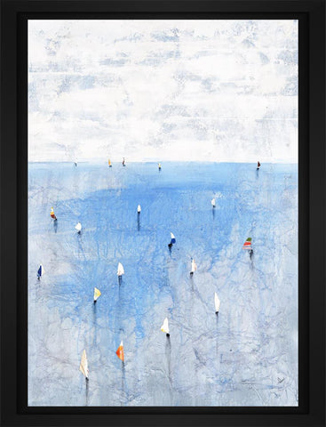 Windward Way V 22L X 28H Floater Framed Art Giclee Wrapped Canvas - J S Bass Gallery - Dropship Direct Wholesale - 1