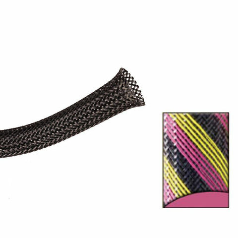 Keep It Clean : 1 1/2in Black Pink and Yellow Strips Ultra Wrap Wire Loom-50 Feet - Unknown - Wholesale Dropship Fulfillment