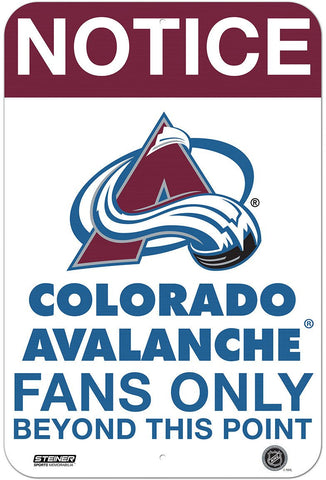 Colorado Avalanche Fans Only 8x12 Aluminum Sign
