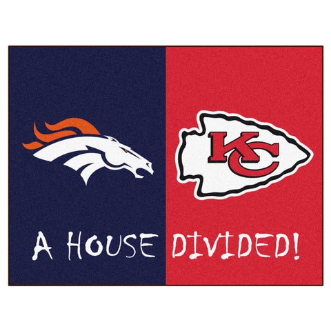 Denver Broncos/Kansas City Chiefs NFL House Divided Rugs 33.75x42.5 - FANMATS - Dropship Direct Wholesale