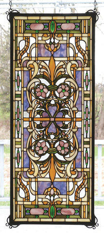 12 Inch W X 30 Inch H Estate Floral Stained Glass Window - Meyda - Dropship Direct Wholesale