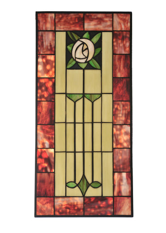 11.80 Inch W X 24.5 Inch H Pasadena Rose Stained Glass Window - Meyda - Dropship Direct Wholesale