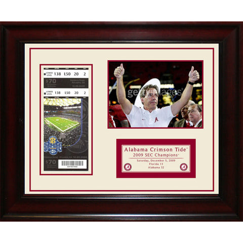 Alabama Crimson Tide 2009 SEC Champions Framed 11x14 Ticket Collage- Send In - Steiner Sports - Dropship Direct Wholesale