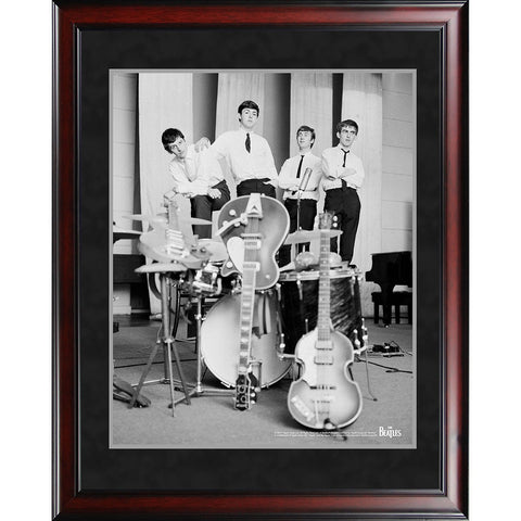 The Beatles 1962 Black and White Pose With Instruments 8x10 Framed Photo