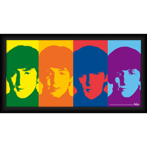 The Beatles 1964 Color Head Shots 10x20 Framed Photo