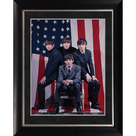 The Beatles American Flag Group Shot 11x14 Framed Photo