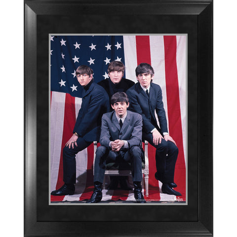 The Beatles Through the Years 1964 US Flag Framed 16x20 Photo