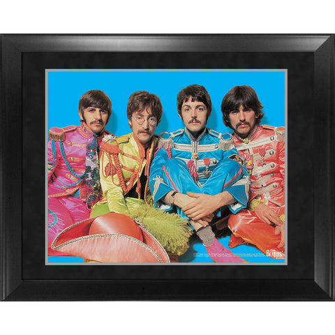 The Beatles Through the Years 1967  Sgt Pepper Group Pose Blue Background Framed 16x20 Photo