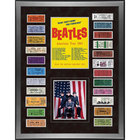 The Beatles American Tour 1964 Framed 24x32 Ticket Collage