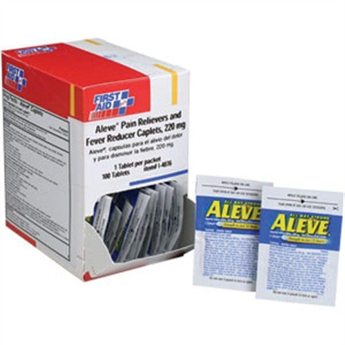 Aleve® pain reliever and fever reducer caplets- 220 mg.- 100 1-packs- 100 tablets per dispenser box - First Aid Only - Dropship Direct Wholesale