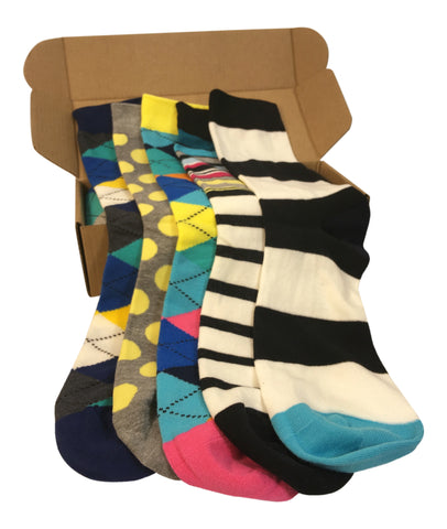 5 Pair Men's Power Socks - Chi Town Collection - Modern Motif - Dropship Direct Wholesale - 1