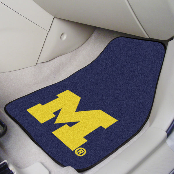 University of Michigan 2-piece Carpeted Car Mats 17x27 - FANMATS - Dropship Direct Wholesale