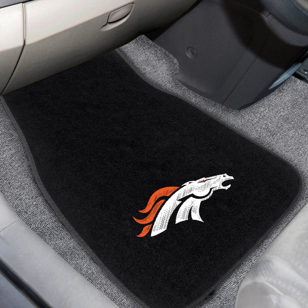 Denver Broncos 2-piece Embroidered Car Mats 18x27 - FANMATS - Dropship Direct Wholesale