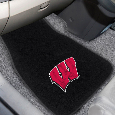 University of Wisconsin 2-piece Embroidered Car Mats 18x27 - FANMATS - Dropship Direct Wholesale