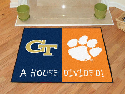 Georgia Tech / Clemson NCAA House Divided Rug 33.75x42.5 - FANMATS - Dropship Direct Wholesale