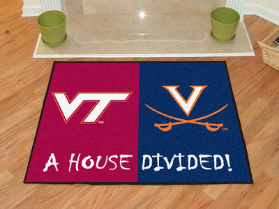 Virginia Tech / Virginia NCAA House Divided Rug 33.75x42.5 - FANMATS - Dropship Direct Wholesale