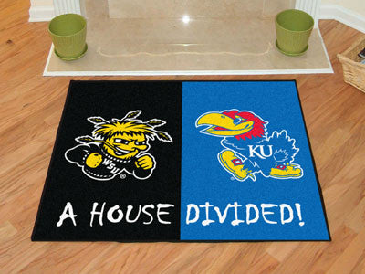 Wichita State / Kansas NCAA House Divided Rug 33.75x42.5 - FANMATS - Dropship Direct Wholesale