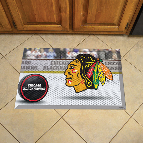 Chicago Blackhawks Scraper Mat 19x30 - Ball - FANMATS - Dropship Direct Wholesale
