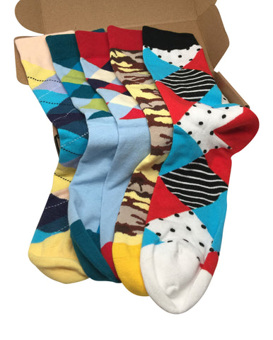 5 Pairs Men's Power Socks - #Sockswag Collection - Modern Motif - Dropship Direct Wholesale - 1