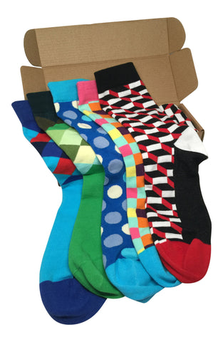 5 Pairs Men's Power Socks - #Sockgame Collection - Modern Motif - Dropship Direct Wholesale - 1