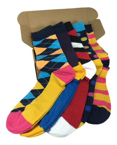 5 Pair Men's Power Socks - Blue Steel Collection - Modern Motif - Dropship Direct Wholesale - 1