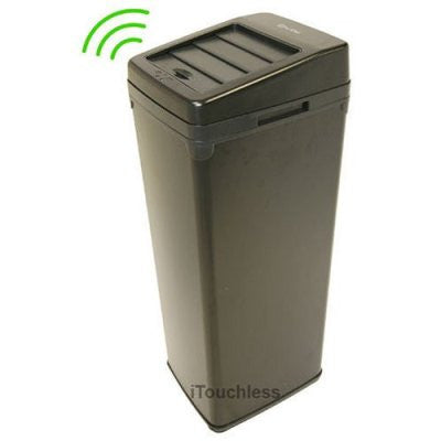 iTouchless 14 Gallon Black Steel Automatic Sensor Touchless Trash Can with Space Saving Lid - iTouchless - Dropship Direct Wholesale