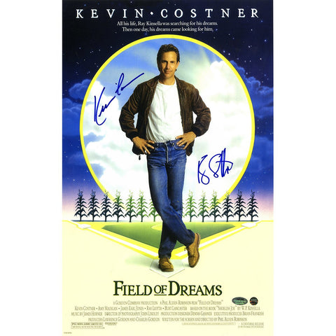 Kevin Costner/Ray Liotta Dual Signed Field of Dreams 11x17 Movie Poster SchwartzSports SSM Auth