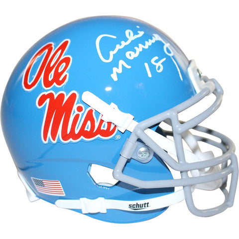 Archie Manning Signed Ole Miss Powder Blue Replica Mini helmet