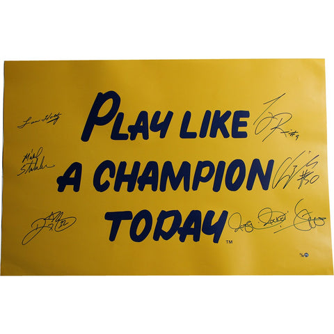 1988 Notre Dame 6 Signature 20x30 Play Like A Champion Poster Signed by Lou Holtz/Ricky Watters/Rocket Ismail/Tony Rice/Chris Zorich/Michael StonebreakerLE 88