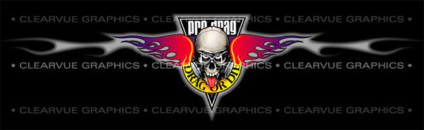 Window Graphic - 20x65 Pro Drag - Drag or Die - ClearVue Graphics - Dropship Direct Wholesale