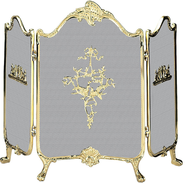 3 Fold Fully Cast Brass Screen - UniFlame - Dropship Direct Wholesale