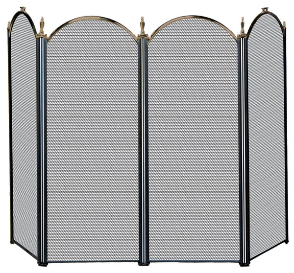 4 Fold Antique Brass Screen - UniFlame - Dropship Direct Wholesale