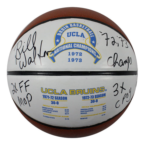 Bill Walton UCLA 1972 and 1973 National Champions Full Size White Panel Basketballl w/ 72-73 Champs 3x CPOY 2XFF MOP Insc