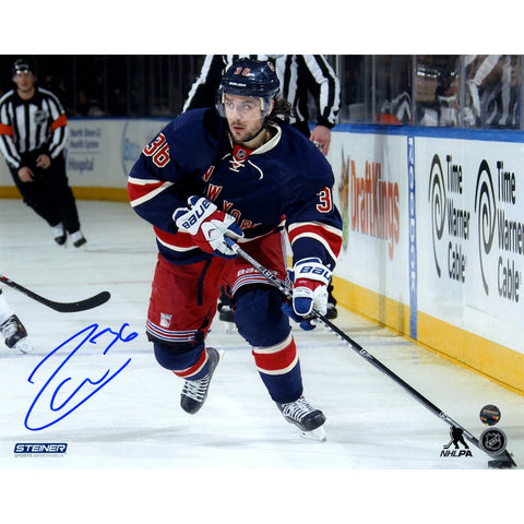 Mats Zuccarello Signed skates with the puck in Heritage Jersey 8x10 Photo