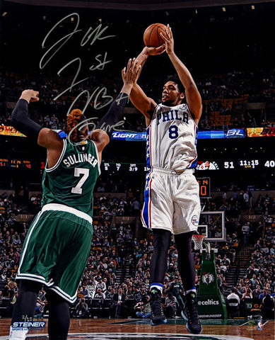 Jahlil Okafor Signed 76ers First NBA Game Metallic 16x20 Photo w/ First NBA Game Insc LE/15