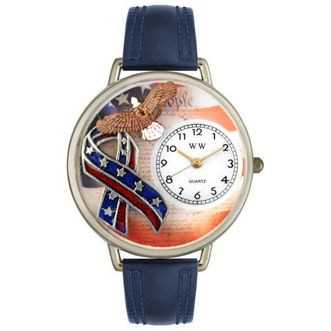 American Patriotic Watch in Silver (Large) - Whimsical Gifts - Dropship Direct Wholesale