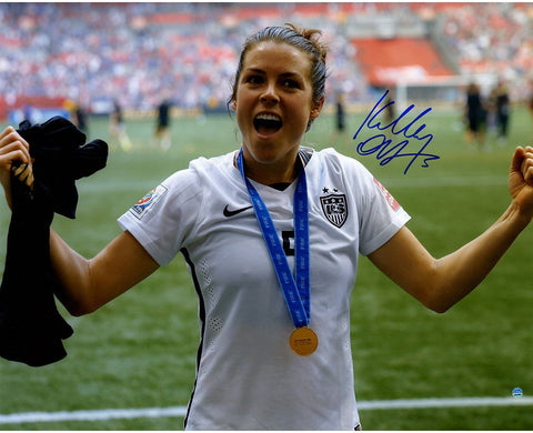Kelley OHara Signed Team USA 2015 Womens World Cup Final Champions Trophy Celebration 16x20 Photo