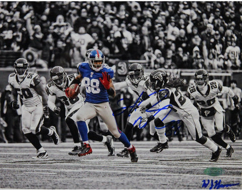Hakeem Nicks Signed Catch and Run vs Falcons Horizontal BW with Color Accents 8x10 Photo Signed by William Hauser