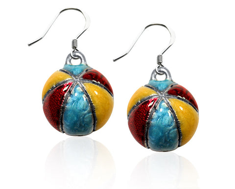 Beach Ball Charm Earrings in Silver - Whimsical Gifts - Dropship Direct Wholesale