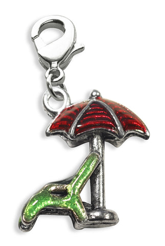 Beach Chair with Umbrella Charm Dangle in Silver - Whimsical Gifts - Dropship Direct Wholesale